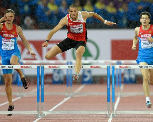 Sein bislang grösster Moment: 2014 wird Hussein im Letzigrund Europameister über 400 Meter Hürden.