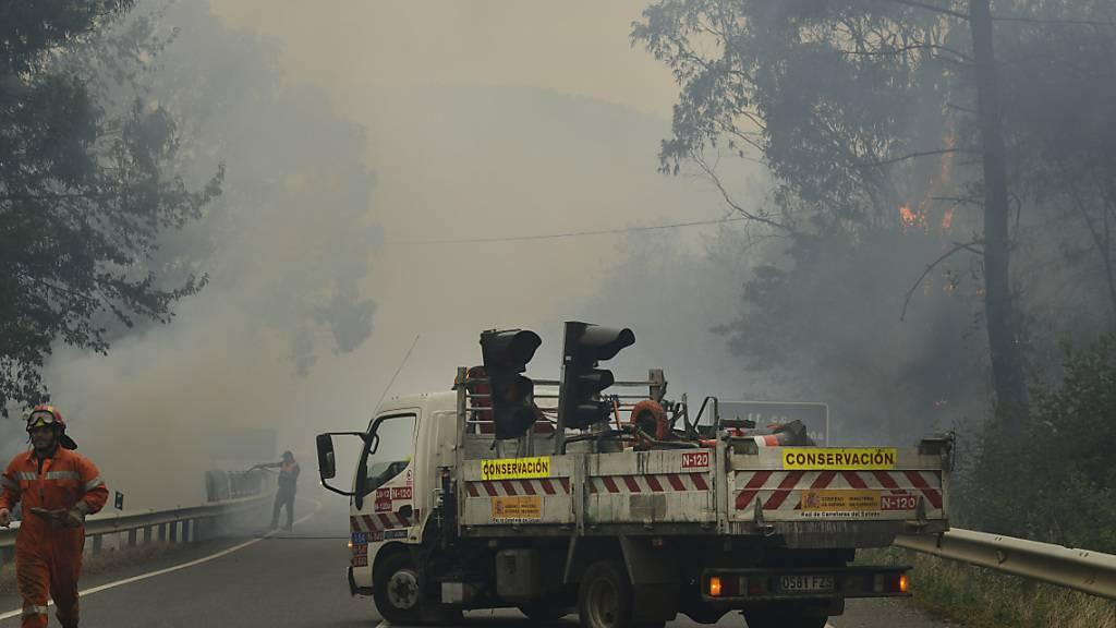 Forstbeamte sind während eines Waldbrandes in Ribas De Sil, in der Provinz Lugo, im Einsatz. Foto: Rosa Veiga/EUROPA PRESS/dpa