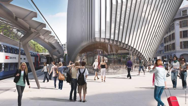 So wird der Neubau des Architekten Santiago Calatrava am Zürcher Stadelhofen aussehen.