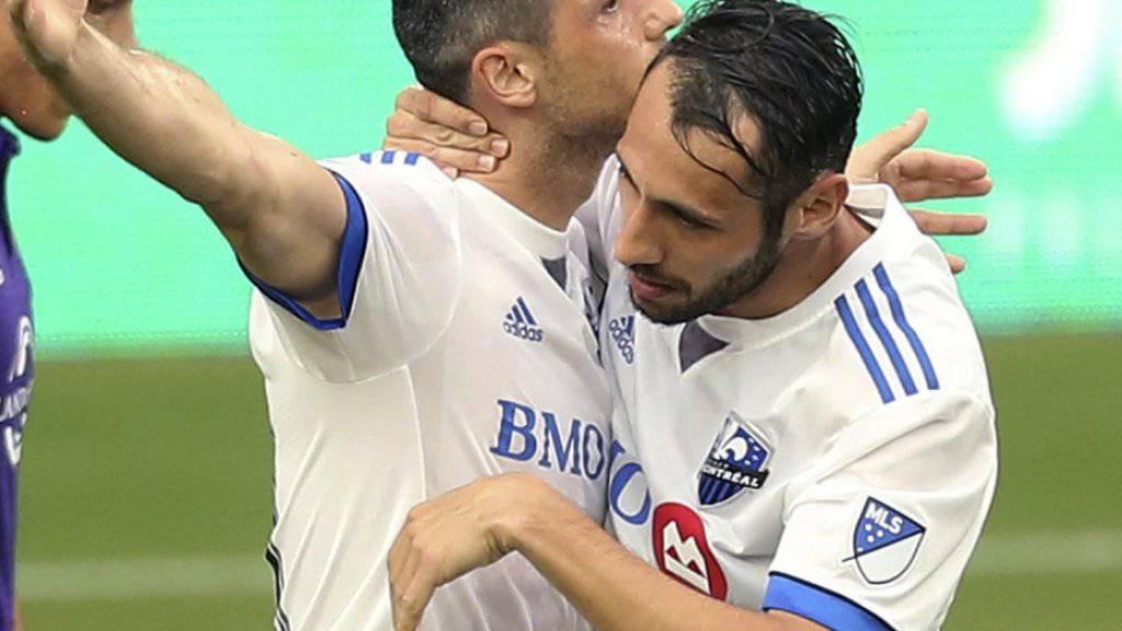 Blerim Dzemaili (links) feiert mit Matteo Mancosu das 1:1