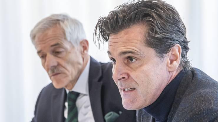 Verwaltungsratspräsident Ueli Vischer und CEO Bernd Stadlwieser: «Der Hallenverkauf hat zurzeit keine Priorität»