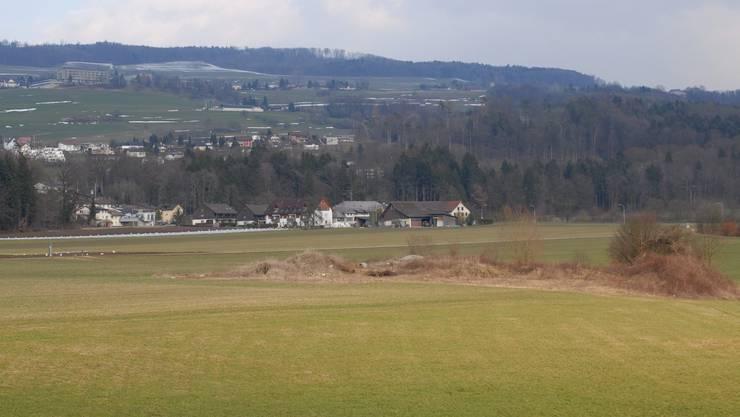 Blick über das Rekultivierungsgebiet Aegerte in Richtung Ortsteil Oberhalte, wo die Kiesgrube entsteht.