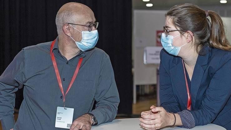 Fragende Blicke am Wahlsonntag: Grünen-Präsident Harald Friedl und Geschäftsleiterin Eva Strub.