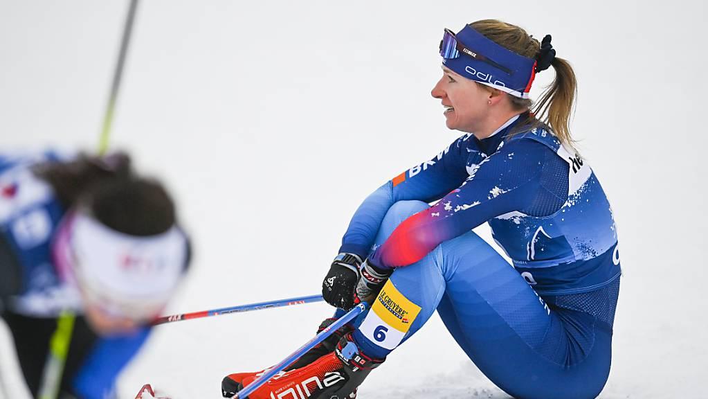 Nadine Fähndrich ist im Ziel mit Blick auf die Resultattafel nicht ganz zufrieden. (Archivaufnahme)