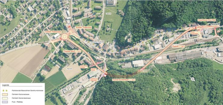Die gepunktete Linie zeichnet die aktuelle Kantonsstrasse durch die Klus, sie ist für den Langsamverkehr und die Busverbindung vorgesehen. zvg