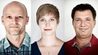 Die Aargauer Anwärter auf den «Prix Courage 2016»: René Gloor, Johanna Gündel und Zeqir Rexhaj (von links).