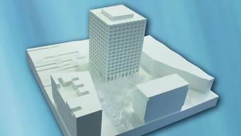 Das Modell zeigt den geplanten «Centurion Tower» beim Fachhochschul-Campus.