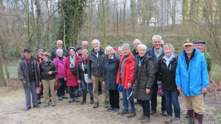 Die Wandergruppe an der Birs entlang, dies am Montag, den 3. Februar 2020