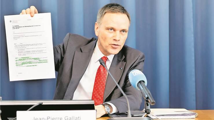Jean-Pierre Gallati, Vorsteher Departement Gesundheit und Soziales, leistet laut Ruth Humbel gute Arbeit.