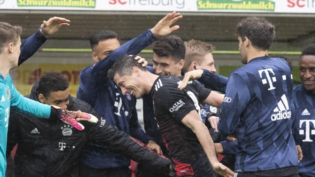Bayerns Ersatzbank steht Spalier für Robert Lewandowski nach dessen 40. Saisontor in der Bundesliga.