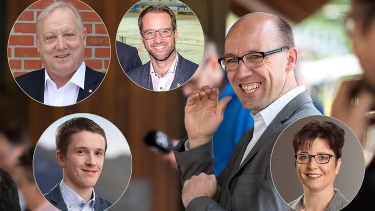 Stefan Müller-Altermatt umringt von (oben v.l) Peter Brotschi, Reto Müller, (unten v.l.) Joël Müller und Karin Kissling-Müller.