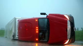 Ein umgestürzter Lastwagen in Oklahoma