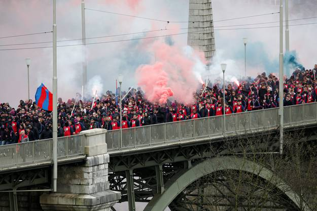 FCB-Fans auf der Kornhausbrücke