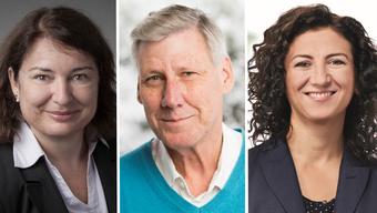 Janine Marti-Matt (parteilos),  Adrian Leimgrübler (parteilos) und Songül Viridén (GLP) wollen Friedensrichter in Schlieren werden.