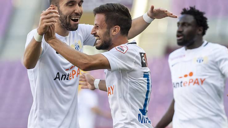 Erster Auswärtssieg für den FC Zürich: Torschütze Marchesano (rechts) jubelt mit Mahi