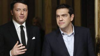 Alexis Tsipras (r.) bei Matteo Renzi in Rom