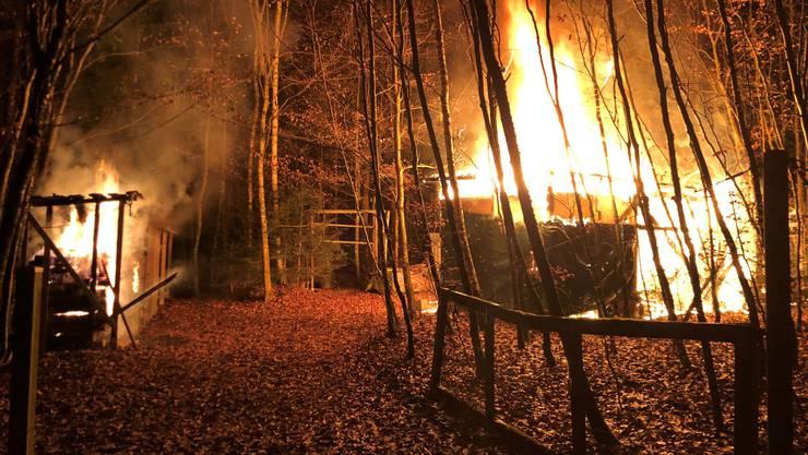 Aus noch unbekanntem Grund geriet ein Holzschuppen und ein Unterstand in Brand.