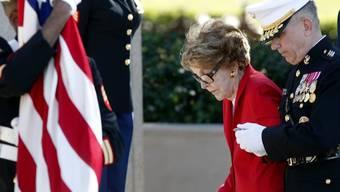 Die ehemalige First-Lady Nancy Reagan an der Zeremonie zu Ehren ihres verstorbenen Ehemannes