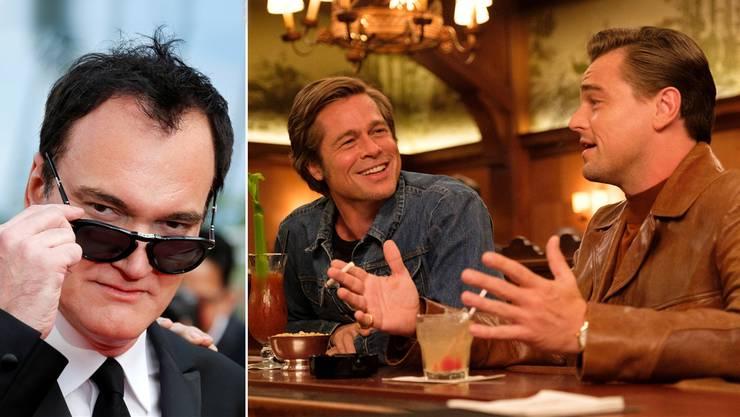 Auf dem absteigenden Ast: Der Stuntmann Cliff Booth (Brad Pitt) und der Western-Star Rick Dalton (Leonardo Di Caprio) in «Once Upon a Time in Hollywood». Links: Star-Regisseur Quentin Tarantino in Cannes.