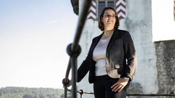 FDP Nationalrats- und Regierungsratskandidatin Jeanine Glarner an ihrem Lieblingsort dem Schloss Wildegg, aufgenommen am 12. September 2019.