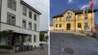 Fast 8 Millionen Franken kostet die Sanierung der zwei Schulhäuser Burggarten (links) und Schloss.