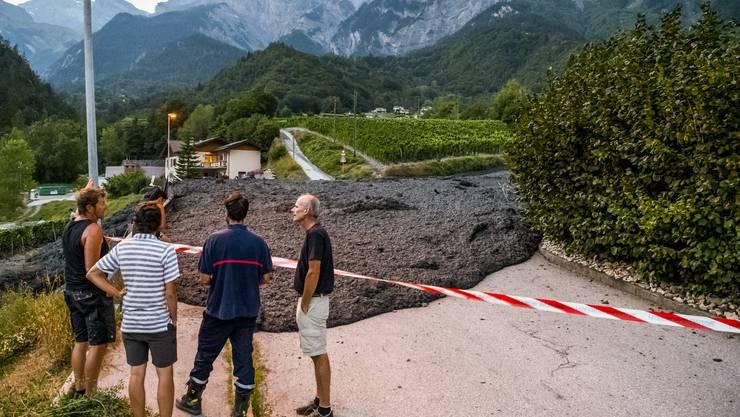 Eine Schlammlawine ist am Dienstagabend beim Dorf Grugnay auf Gemeindegebiet von Chamoson VS niedergegangen.
