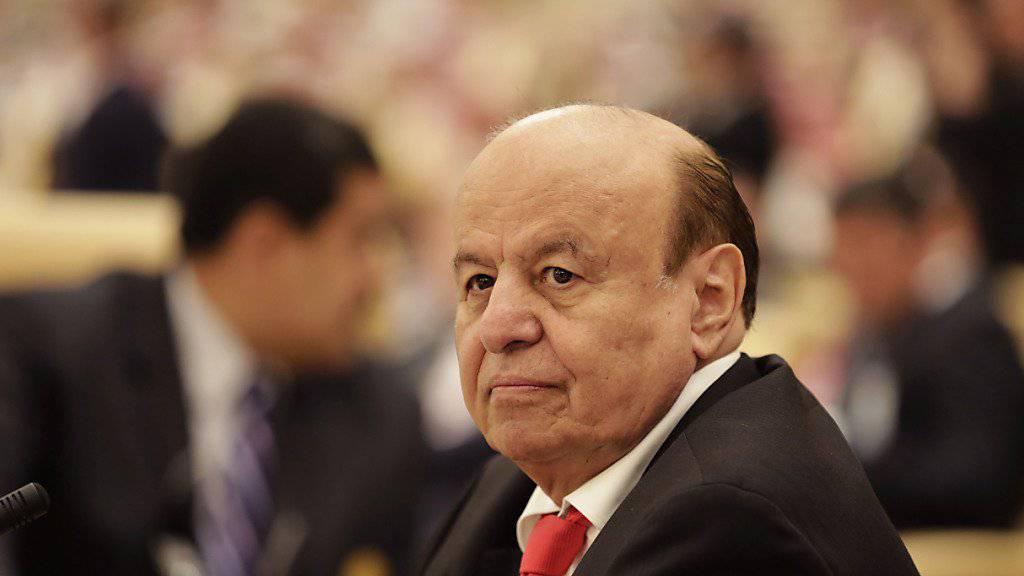 Jemens Präsident Abed Rabbo Mansur Hadi vor einer Woche bei einer Konferenz in Riad