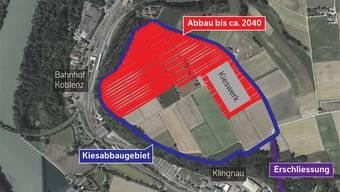 Das Kies wird bis 2040 auf 19 Hektaren Fläche (rot) abgebaut. Im Richtplan ist die blau umrandete Fläche eingetragen.