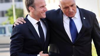 Frankreichs Präsident Emmanuel Macron (Links) mit Bulgariens Premierminister Boyko Borissov am EU-Gipfel in Sofia.