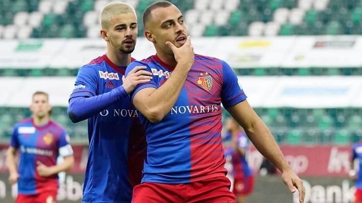 Jubel beim FCB: Edon Zhegrova (links) und Arthur Cabral, der Torschütze zum 1:0.