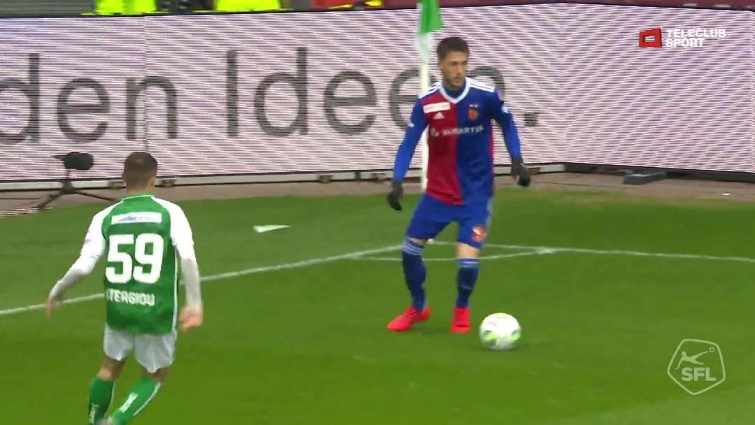 Super League, Saison 2018/19, Runde 31, St. Gallen-FC Basel, 0:2 für FC Basel 1893 von Samuele Campo (Assist: Kevin Bua)