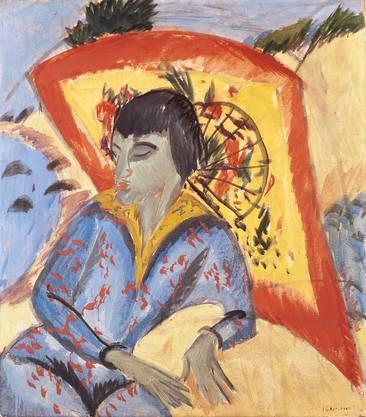 Expressiv: Ernst Ludwig Kirchner,  «Erna mit Japanschirm (Japanerin)» von 1913.
