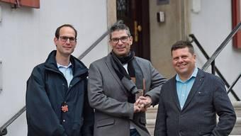 Pascal Bolliger (Mitte) ist einziger Kandidat für das Laufner Stadtpräsidium