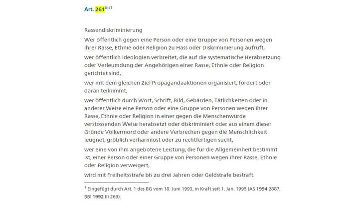 Text der Antirassismus-Strafnorm