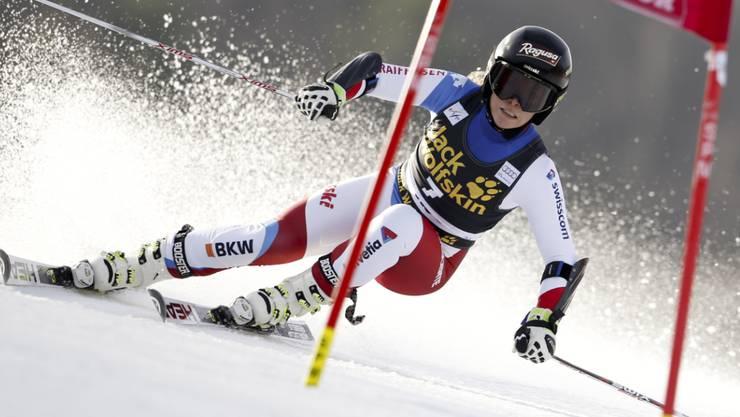 Lara Gut auf dem Weg zu Platz 3 im ersten Lauf von Maribor