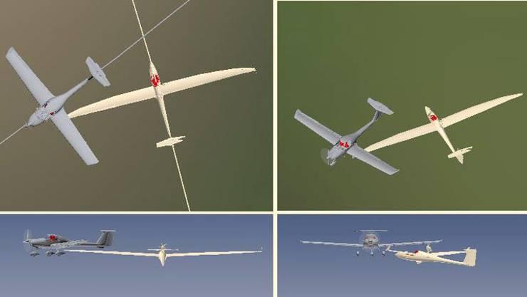 Die Visualisierung der Kollision der beiden Flugzeuge