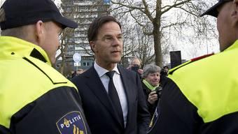 Der niederländische Premierminister Mark Rutte dankte der Polizei für ihren Einsatz. (Bild vom 19. März)