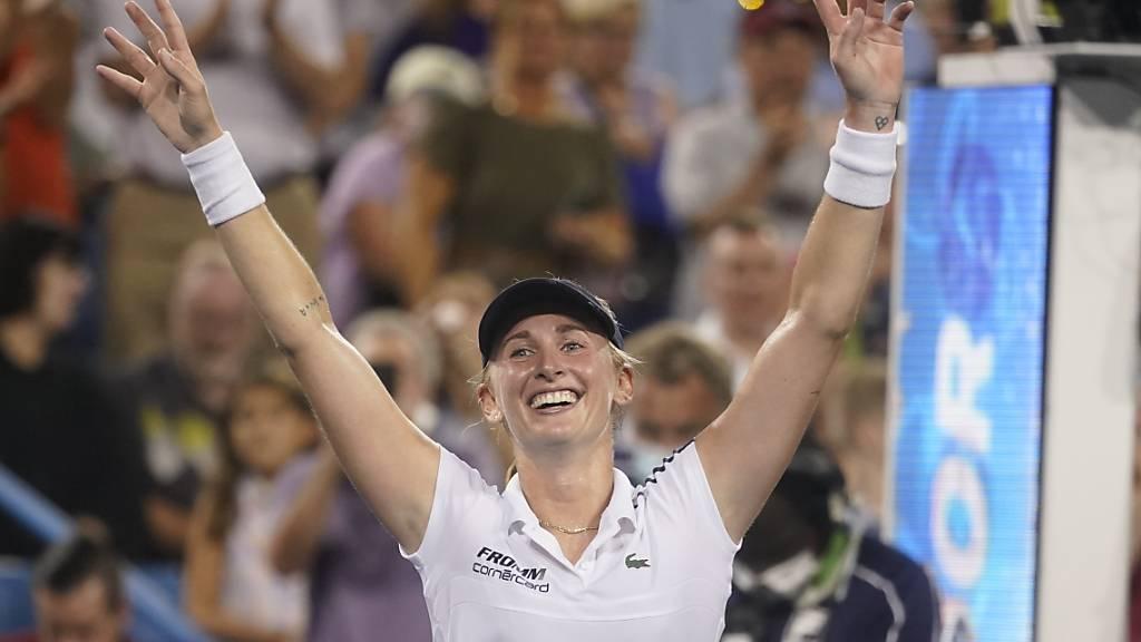Einer ihrer grössten Erfolge: Jil Teichmann jubelt über den Sieg gegen Naomi Osaka