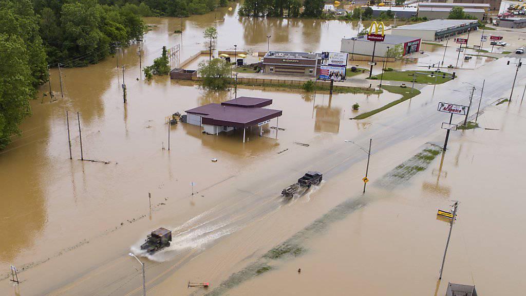 Wasser überall: Die US-Bundesstaaten Arkansas und Missouri kämpfen mit Überschwemmungen.