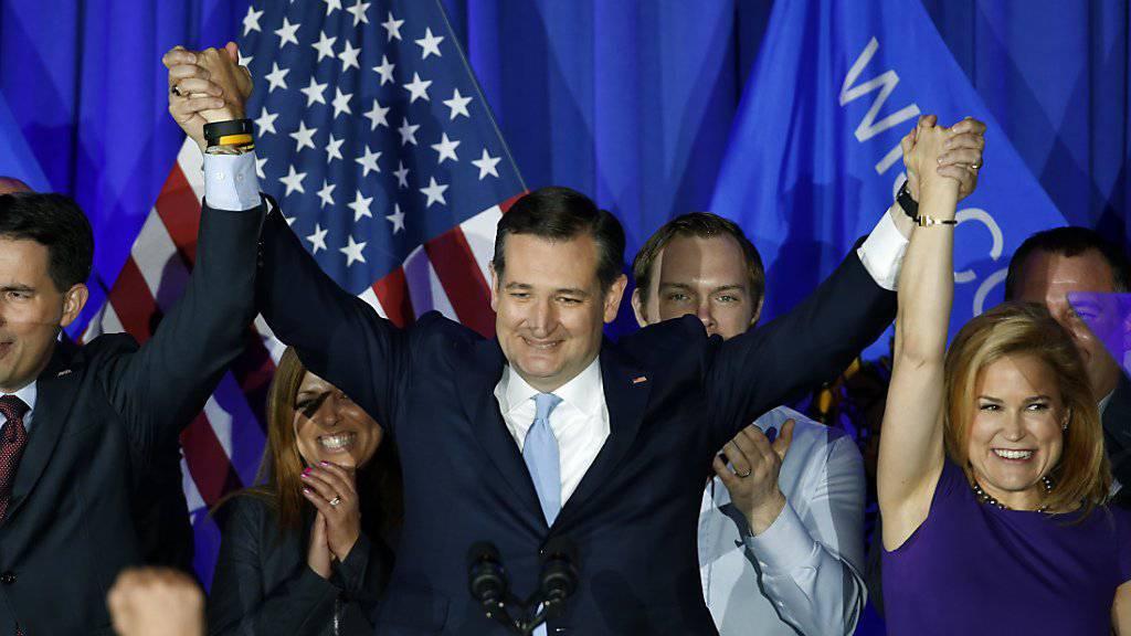 Senator Ted Cruz holt sich den Vorwahlsieg der Republikaner im US-Bundesstaat Wisconsin vor Donald Trump.