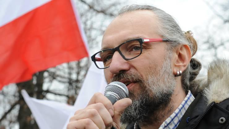 KOD-Gründer Mateusz Kijowski bei der Demonstration in Warschau.