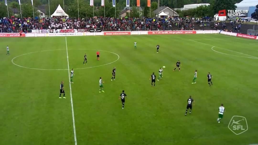 Challenge League 19/20 Runde 2: FC Aarau - SC Kriens 27.7.19 - Schuss von Dario Ulrich (SC Kriens)