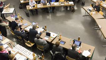 Einwohnerratssitzung im Jahr 2017, am 12. Dezember in der Aula Pfaffechappe Baden.