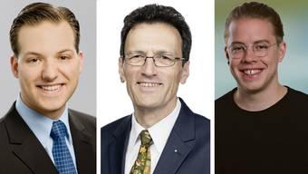 Wurden abgewählt: (v.l.n.r) Norbert Stichert (FDP), Johannes Jenny (FDP), Florian Vock (SP).