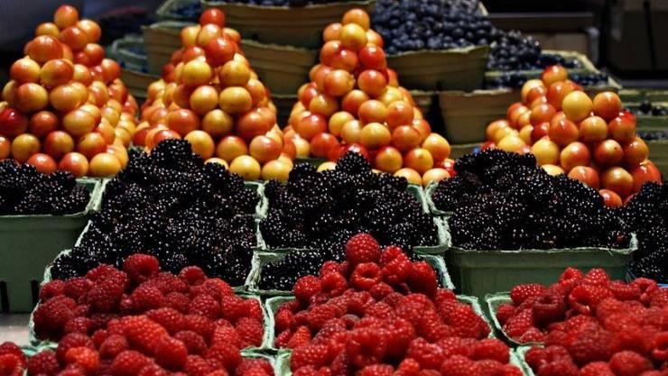 Köstliche frisch gepflückte Beeren. Da möchte man alle mitnehmen.