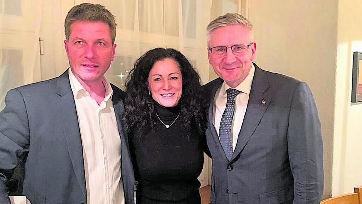 Irène Richner mit ihrem Vorgänger Daniel Wehrli (l.) und Nationalrat Andreas Glarner.