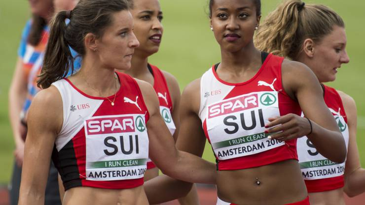 Nicht ganz zufrieden: die Läuferinnen der Schweizer 4x100-m-Staffel