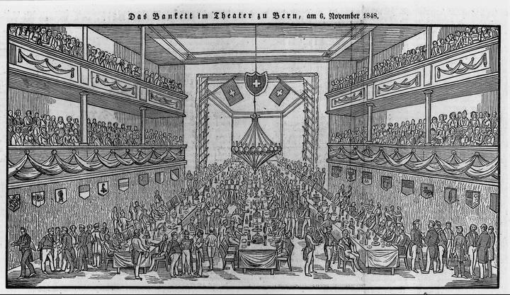 6. November 1848 Holzschnitt eines Banketts der ersten Bundesversammlung im Berner Hôtel de Musique. (Fotos: zvg)