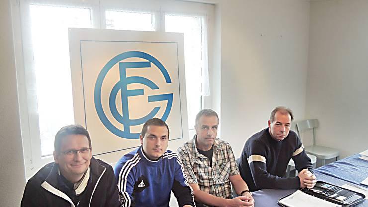 Die neue Geschäftsleitung des FC Grenchen: (v.l.) Gerd Frera (Vize-Präsident, Marketing), Darko Selkic (Sportchef, Nachwuchs), Rolf Bieri (Präsident) und Paul Kocher (Controlling).