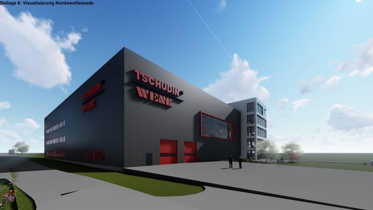 So soll der neue Firmensitz der Tschudin AG und Wenk SA an der Neckarsulmstrasse aussehen.